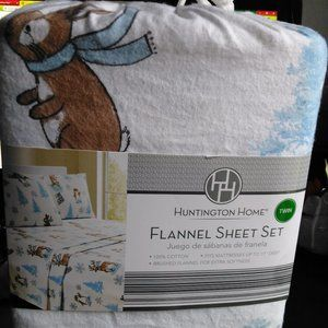 NEW HUNTINGTON Home Winter Flannel Sheet Set Twin